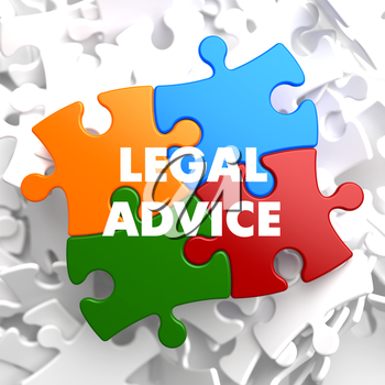 Legal Advice on Multicolor Puzzle on White Background.