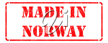 Made in Norway - inscription on Red Rubber Stamp Isolated on White.
