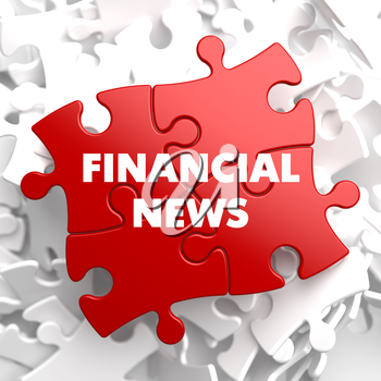 Financial News on Red Puzzle on White Background.