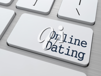 Online Dating Concept. Button on Modern White Computer Keyboard.