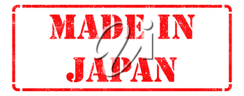 Made in Japan - Inscription on Red Rubber Stamp Isolated on White.