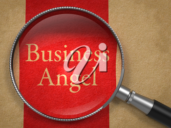 Business Angel through Magnifying Glass on Old Paper with Red Vertical Line.