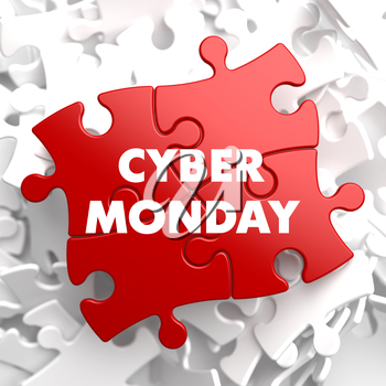 Cyber Monday on Red Puzzle on White Background.