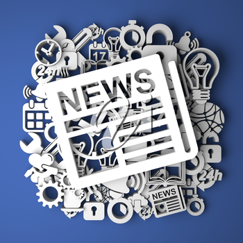 News Icon on Handmade Paper Decoration on Blue Background.