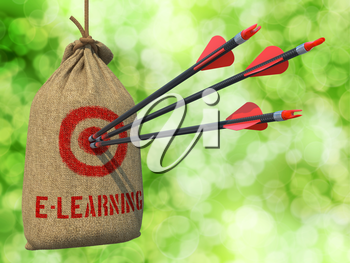 E-Learning - Three Arrows Hit in Red Target on a Hanging Sack on Green Bokeh Background.