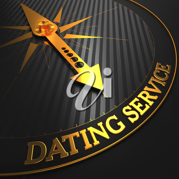 Dating Service - Golden Compass Needle on a Black Field.