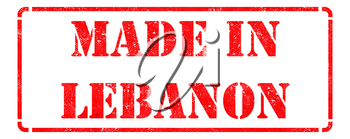 Made in Lebanon - Inscription on Red Rubber Stamp Isolated on White.
