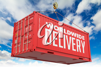World Wide Delivery - Red Hanging Cargo Container on Sky Background.
