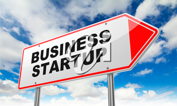 Business Startup - Inscription on Red Road Sign on Sky Background.