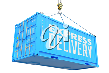 Express Delivery - Red Cargo Container hoisted with hook Isolated on White Background.