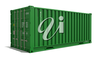 Green Container on Isolated White Background. Industrial Concept.