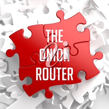 The Onion Router - Red Puzzle on White Background.