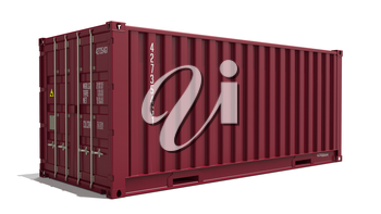 Red Container on Isolated White Background. Industrial Concept.