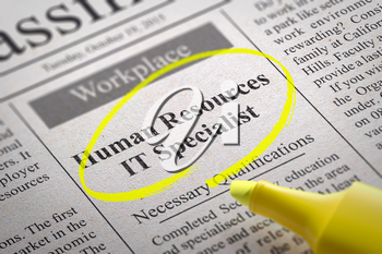 Human Resources IT Specialist Vacancy in Newspaper. Job Seeking Concept.