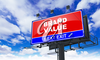 Brand Value - Red Billboard on Sky Background. Business Concept.
