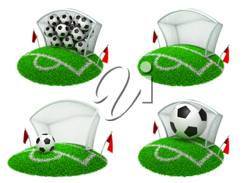 Soccer Concepts - Set of 3D Football Gate and Balls.