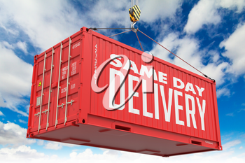 Same Day Delivery - Red Hanging Cargo Container on Sky Background.