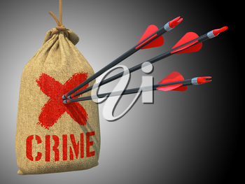 Crime - Three Arrows Hit in Red Target on a Hanging Sack on Green Bokeh Background.
