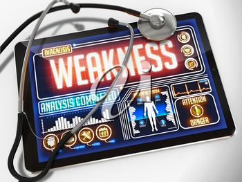 Medical Tablet with the Diagnosis of Weakness on the Display and a Black Stethoscope on White Background.