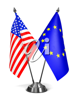 EU and USA - Miniature Flags Isolated on White Background.