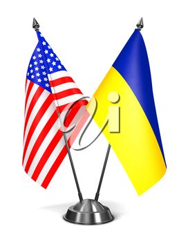 USA and Ukraine - Miniature Flags Isolated on White Background.