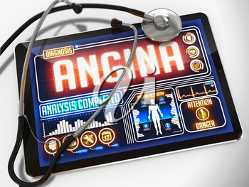 Angina - Diagnosis on the Display of Medical Tablet and a Black Stethoscope on White Background.