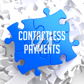 Contactless Payments on Blue Puzzle on White Background.