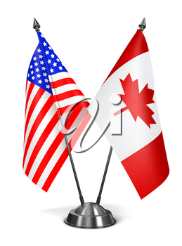USA and Canada - Miniature Flags Isolated on White Background.