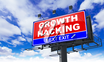 Growth Hacking Inscription on Red Billboard on Sky Background.