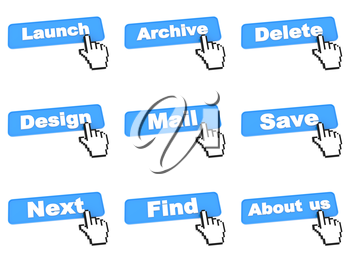 Blue Web Data Processing Buttons with Hand Cursor Isolated on White Background.
