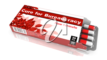 Cure for Bureaucracy - Red Open Blister Pack Tablets Isolated on White.