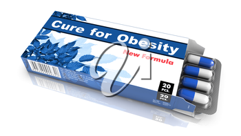 Cure for Obesity - Blue Open Blister Pack Tablets Isolated on White.