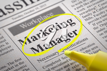 Marketing Manager Jobs in Newspaper. Job Seeking Concept.