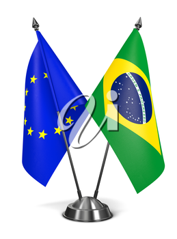 European Union and Brazil - Miniature Flags Isolated on White Background.