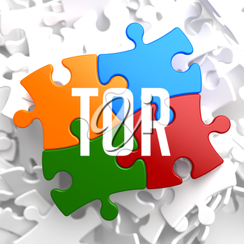TOR on Variegated Puzzle on White Background.