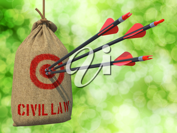 Civil Law - Three Arrows Hit in Red Target on a Hanging Sack on Natural Bokeh Background.