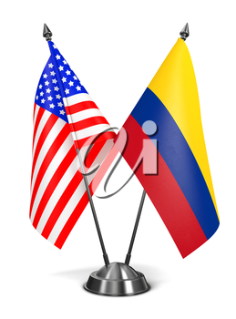 USA and Colombia - Miniature Flags Isolated on White Background.