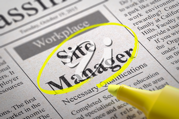 Site Manager Vacancy in Newspaper. Job Seeking Concept.