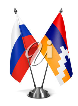 Russia and Nagorno-Karabakh of Miniature Flags Isolated on White Background.