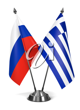 Russia and Greece - Miniature Flags Isolated on White Background.