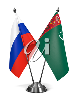 Russia and Turkmenistan - Miniature Flags Isolated on White Background.