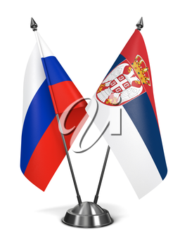 Russia and Serbia - Miniature Flags Isolated on White Background.