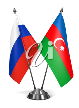 Russia and Azerbaijan - Miniature Flags Isolated on White Background.