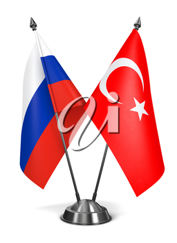 Russia and Turkey - Miniature Flags Isolated on White Background.