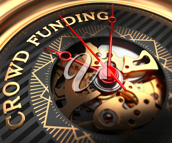 Crowd Funding on Black-Golden Watch Face with Watch Mechanism. Full Frame Closeup.