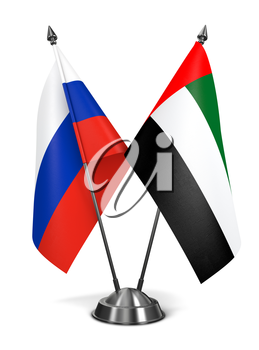 Russia and United Arab Emirates - Miniature Flags Isolated on White Background.