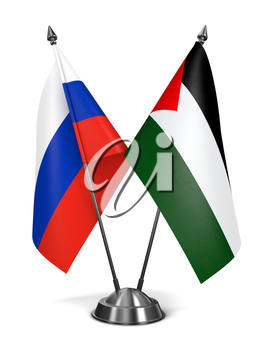 Russia and Palestine - Miniature Flags Isolated on White Background.