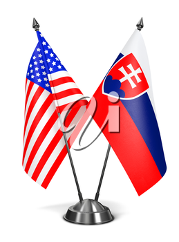 USA and Slovakia - Miniature Flags Isolated on White Background.