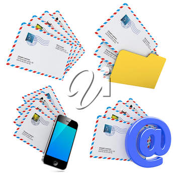 Set of E-mail and Internet Messaging Concept. Isolated on White, 3D