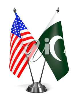 USA and Pakistan - Miniature Flags Isolated on White Background.